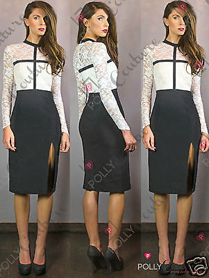 Womens Smart Elegant Lace Bodycon Long Sleeve Midi Party Slit Pencil Skirt Dress