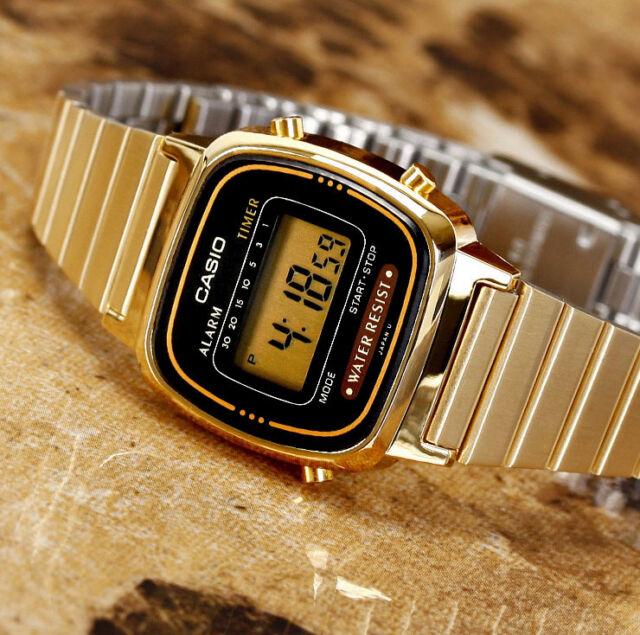 Casio LA670WGA-1 Ladies Digital Watch Gold Steel Band and Black Dial Retro New