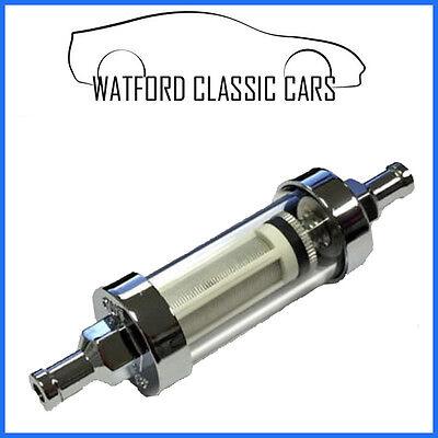"Universal Chrome Glass Washable Fuel Petrol Inline Filter 5//16 /""8mm UK"