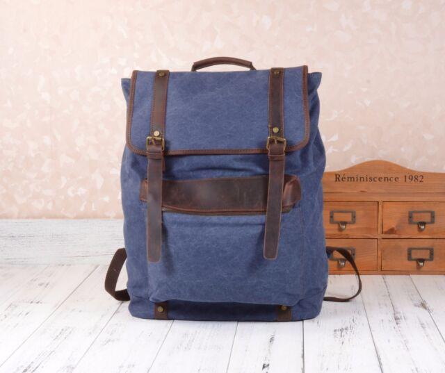 NEW Men's Vintage Canvas Genuine Leather Extra Large Bag Backpack Rucksack UK