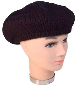 Ladies Black Chunky Knit Beret Hat French Style Paris Warm Winter ... 3eacb13af0e