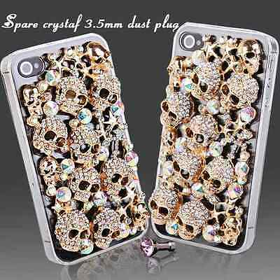 NEW COOL LUXURY 3D BLING GOLD SKULL DIAMANTE CASE COVER FOR SONY XPERIA Z3 PHONE