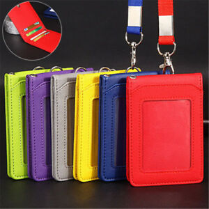 Leather-Wallet-Work-Office-ID-Card-Credit-Card-Badge-Holder-Lanyard-5-Slots