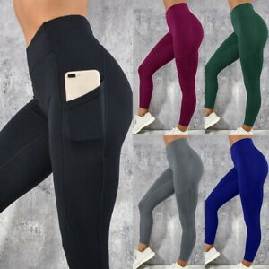 Femme-Fitness-Yoga-Leggings-Sport-elastique-Pantalons-avec-Poche-Trousers