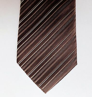 Pierre Cardin mens striped silk tie brown stripes 61 inches long