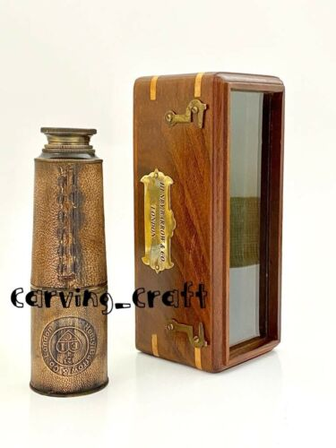 """Details about  /Nautical Marine Spyglass Brass 16/"""" Telescope with wooden case-High Quality lens"""