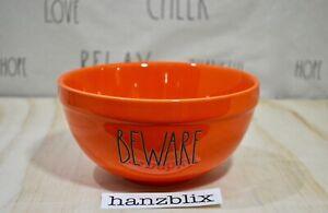Rae-Dunn-Bowl-BEWARE-Small-Mixing-Bowl-Orange-Halloween-NEW-HTF-RARE