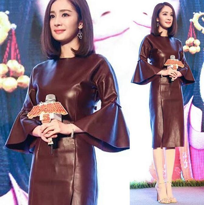 Womens Bell sleeve Pu leather bodycon Slim dress Mid Long slim prom dress 2019