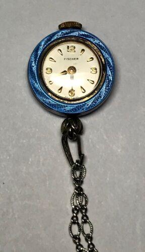 Vintage Fischer 17 Jewels Blue Guilloche Enamel &