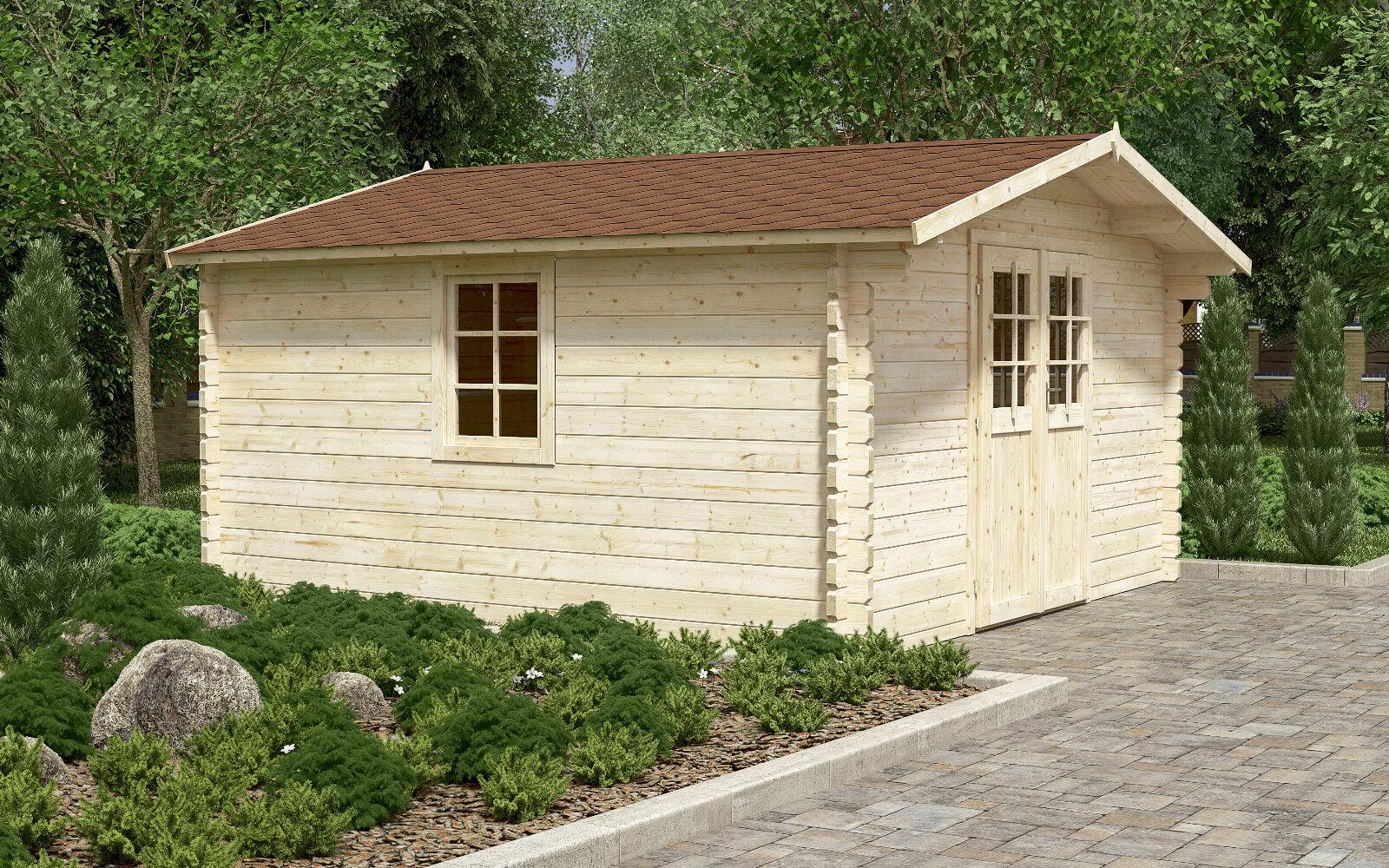 44 mm gartenhaus ca 400x400 cm ger tehaus blockhaus for Fenster 400x400