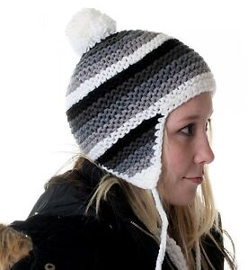 Damen-Girly-Strick-Winter-Mutze-Kappe-gestreift-Bommel-ringel-NEU-grau-bunt