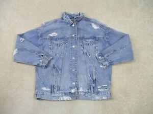 American-Eagle-Jean-Jacket-Womens-Small-Blue-Denim-Pockets-Cotton-Casual-Ladies
