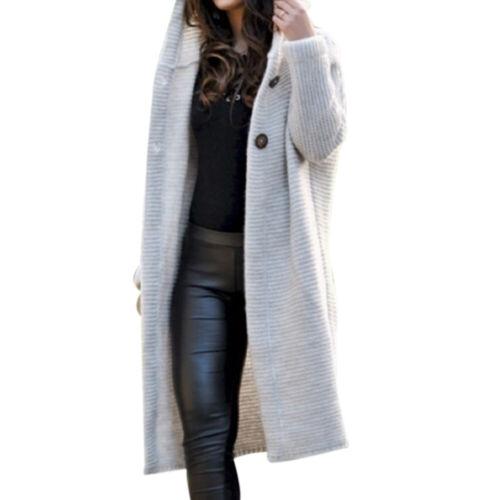 Women Autumn Winter Hooded Knit Cardigan Sweater Outwear Long Jacket Trench Coat