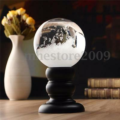 Weather Forecast Crystal Ball Wooden Base Storm Glass Home Decor Christmas Gift