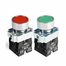 2pcs 22mm Momentary Push Button Switch Red Green 1no 1nc Metal Head Xb2 11bn Gampr