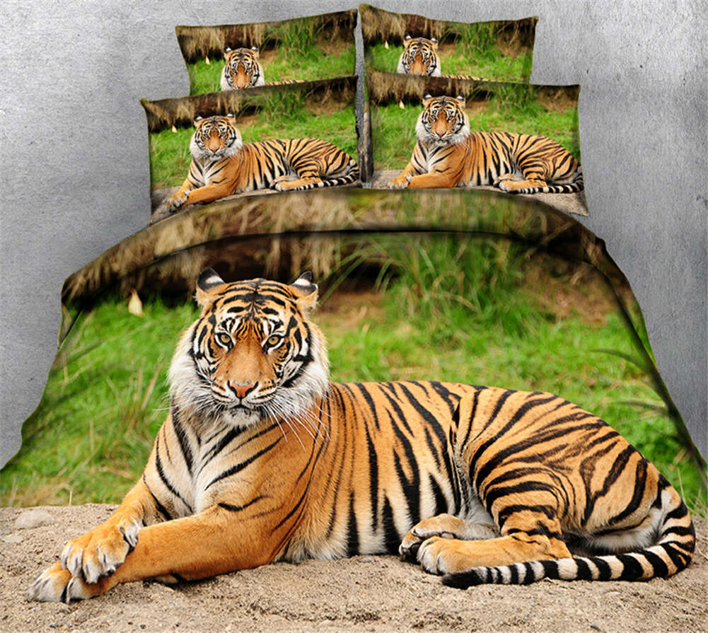 Depressing Tiger 3D Printing Duvet Quilt Doona Covers Pillow Case Bedding Sets