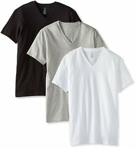 Men-039-s-Calvin-Klein-3-Three-Pack-Classic-Cotton-V-Neck-Tee-Shirt-Gray-White-Black