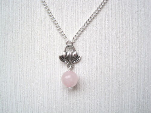 "Flor De Loto encanto grano de cuarzo rosa 18/"" plateado plata collar curación Zen"