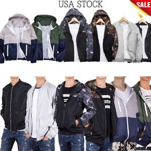 Men-039-s-Waterproof-Windbreaker-ZIPPER-Jacket-Hoodie-Outwear-Gym-Light-Sports-Coat