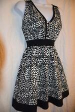 VANS - size S - Black+White ~ oval & triangle Print ~ V-Neck Babydoll Sun Dress