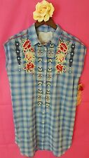 3J WORKSHOP s small PLAID Cora Button Back Easy Tunic JWLA Johnny Was new nwt