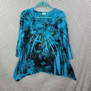 Avenue Plus Size 14/16 1X Shirt TunicTop pullover Boho Peasant Iris Floral blue