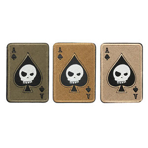 Ace-Spades-Death-Skull-Card-USA-Army-Tactical-Morale-Aufnaeher-Hook-Abzeichen-BS7