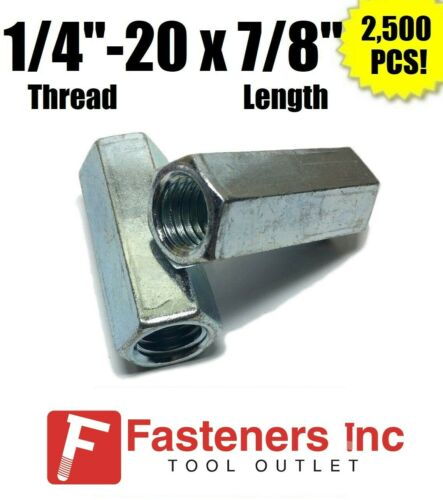 """2500 1//4/""""-20 x W3//8/"""" x L7//8/"""" Coarse Grade A Hex Rod Coupling Nut Zinc Plated"""