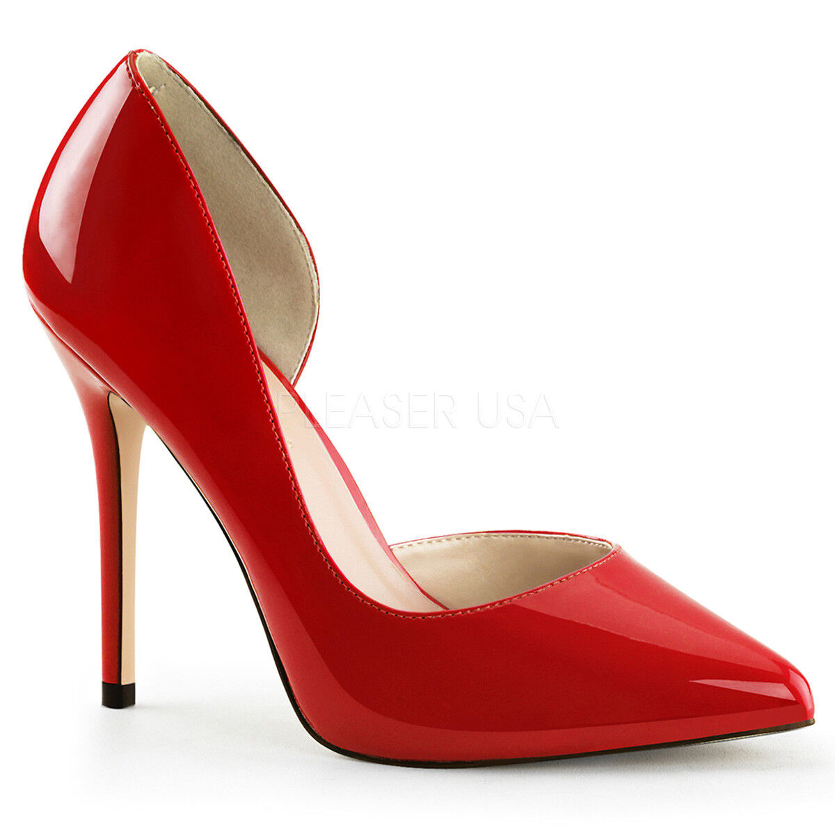 Pleaser AMUSE-22 Single Soles rot Patent Instep Cutout Cutout Instep Pump Stiletto High Heels c1d4ae