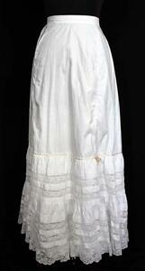 ANTIQUE-FRENCH-LONG-VICTORIAN-WHITE-COTTON-PETTICOAT-WITH-LACE-TRIM-22-034-WAIST
