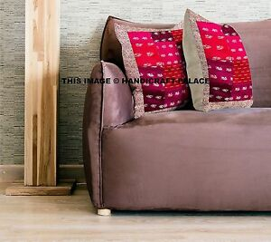 Silk-Patchwork-Pink-Cushion-Cover-16x16-034-Boho-Indian-Sofa-Sham-Home-Decor-Throws