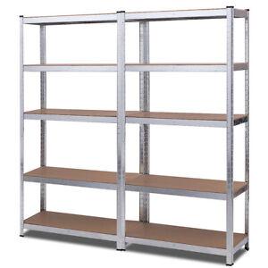 2 PCS 72-Inch 5-Tier Storage Rack Adjustable Garage Outdoor Shelving Unit