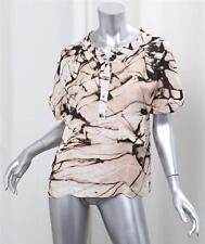 BRIAN REYES Womens Beige Abstract Print Silk Short-Sleeve Blouse Top Shirt 2