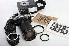 Nikon FG Camera 35mm SLR Outfit with Two Lenses And Nikon SB-15 Speedlight flash