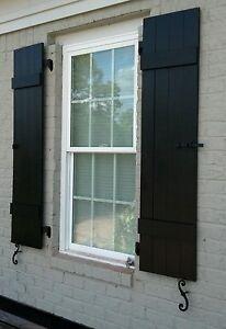 Custom black board and batten wood shutters ebay - Framed board and batten exterior shutters ...