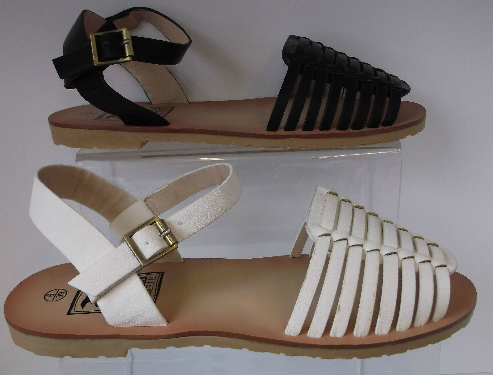 Ladies Black/ White Down Sandals To Earth Sandals Down F0727 f8a4fd