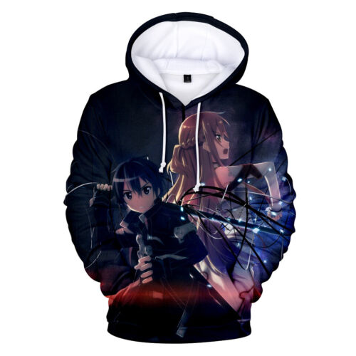Sword Art Online Kirito Yuuki Asuna Cosplay Anime Pullover Hoodie Sweatshirt