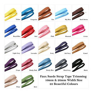 Faux-Suede-Strap-Tape-Trimming-10mm-amp-20mm-22-Colors-Strong-Soft-Smooth-Leather