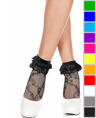 New Music Legs 572 Ruffle Lace Ankle High Socks