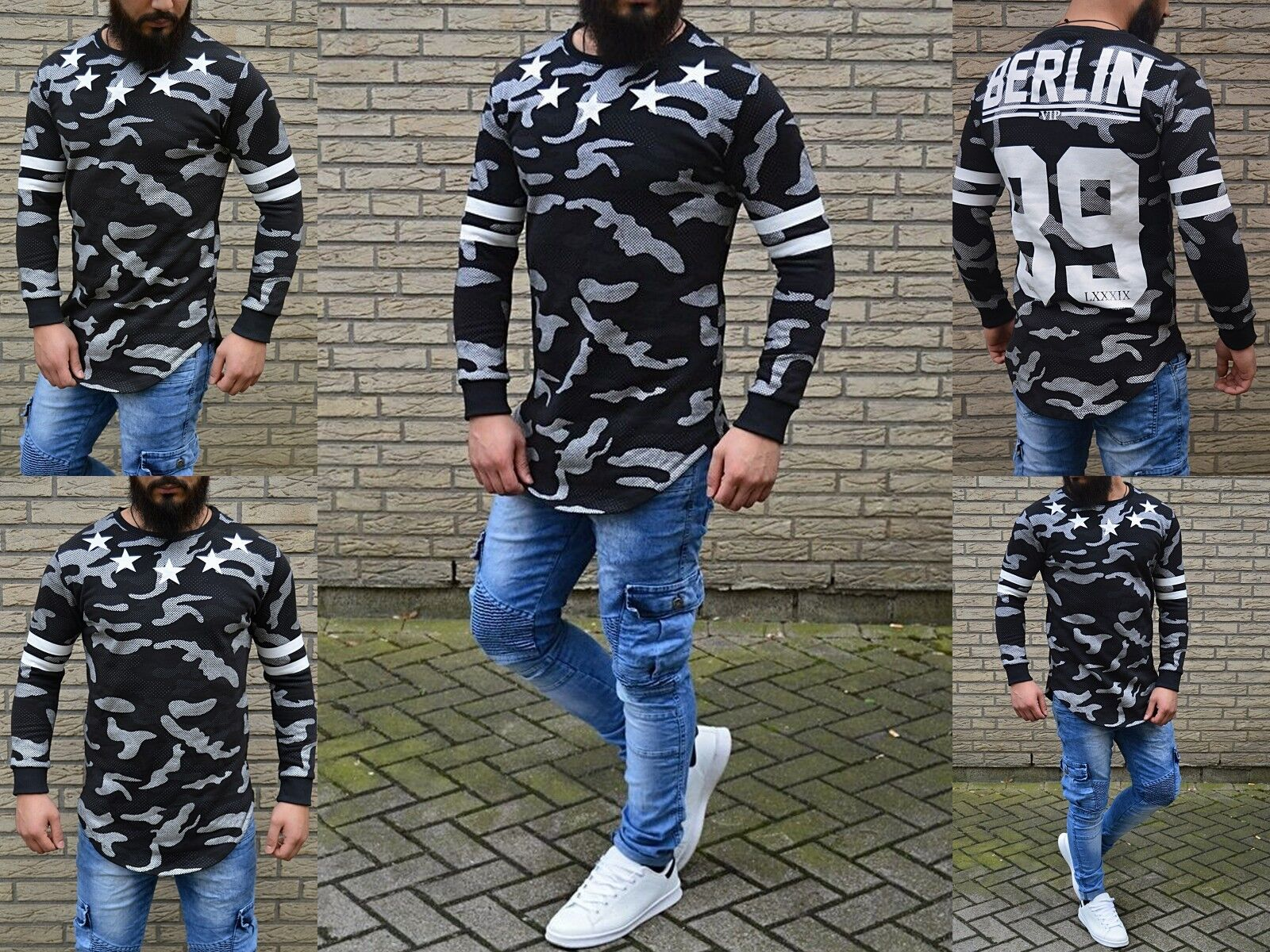 Funny Fashion Men's Style Shakur Dancer Hip Hop Style Longshirt Berlin