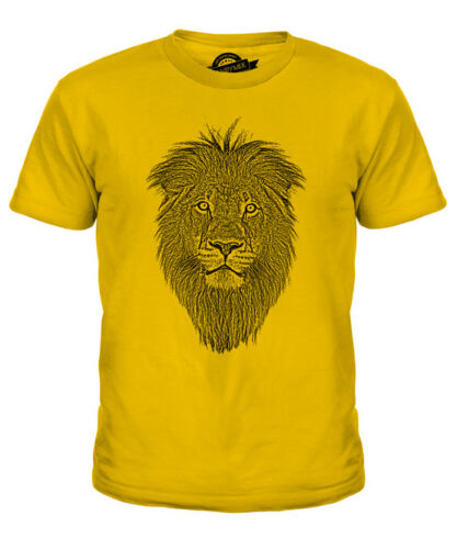 LION FACE SKETCH KIDS PRINTED T-SHIRT TOP BIG CAT KING OF THE ANIMALS