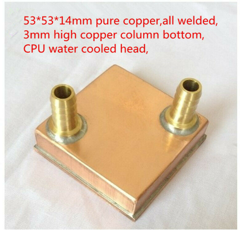 Computer CPU water-cooled head server pure copper radiator all welded 53*53*14mm