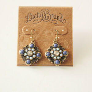 New-Lucky-Brand-Resin-Stone-Floral-Drop-Earrings-Gift-Vintage-Lady-Party-Jewelry