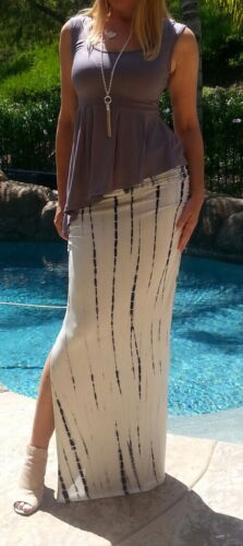 Maya Antonia-PLUS-Super Sexy-Tie-Dye White-Black Maxi Skirt w//Rushing and Slit