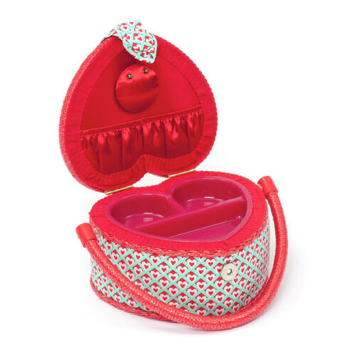 Small Square Sewing Basket Hearts Heart Shaped Craft Hobby