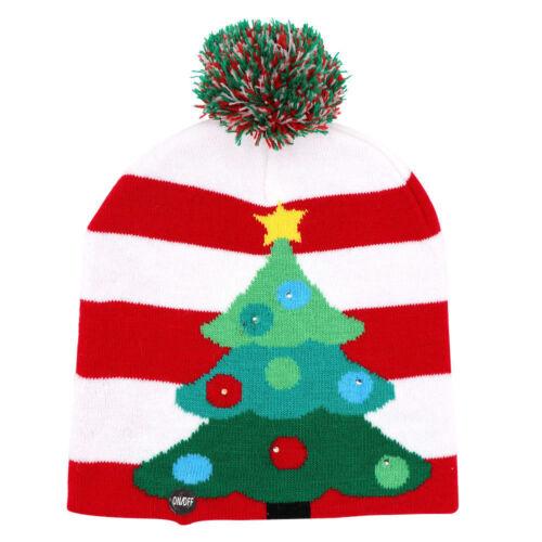 Popular Christmas Tree LED Hat Beanie Light Up Hat Crochet Knitted Led Cap