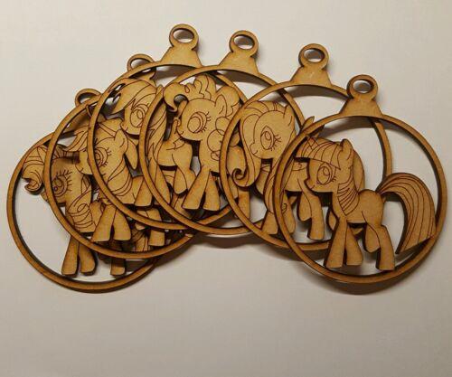 6x en Bois Boules Arbre de Noël décoration petits poneys Découpe Laser 3 mm MDF Blan