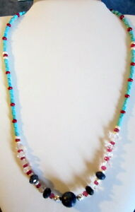 STERLING 925 NATURAL GEMSTONE NECKLACE, SAPPHIRE, RUBY, TURQUOISE, HERKIMER 18