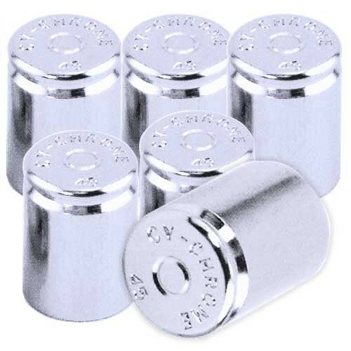 6 Chrome 45 Metal Replica Bullet Tire Valve Stem Dust Caps For Rim Wheel