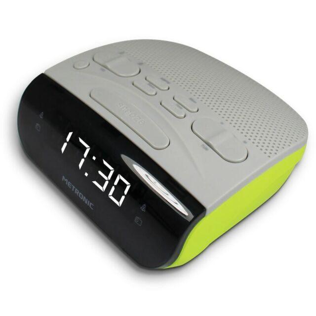 Metronic 477035 Radio Réveil Double alarmes Tuner Amfm Gris Vert